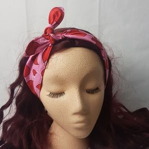 Handmade Accessories - Handmade Knot Headband Red and Pink Bandana